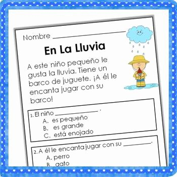 Spanish Reading Comprehension Worksheet Lovely Spanish Reading Prehension Passages and Questions the