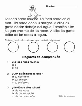 Spanish Reading Comprehension Worksheet New Easy Reading Prehension Passages Spanish Invierno