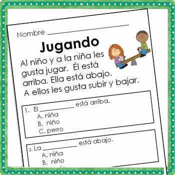 Spanish Reading Comprehension Worksheet New Spanish Reading Prehension Passages for Beginning