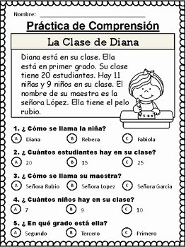 Spanish Reading Comprehension Worksheet Unique Spanish Reading Prehension Stories Cuentos De