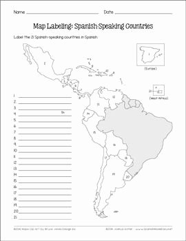 Spanish Speaking Countries Map Worksheet Awesome Spanish Speaking Countries and Capitals Maps and Quiz