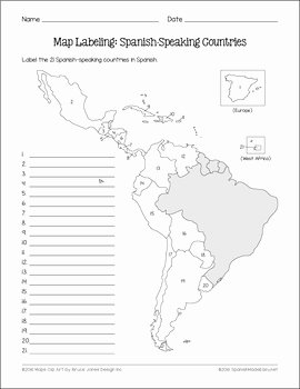 Spanish Speaking Countries Map Worksheet Best Of Spanish Speaking Countries and Capitals Maps and Quiz by