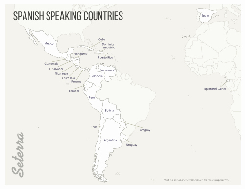 Spanish Speaking Countries Map Worksheet Best Of Spanish Speaking Countries Printables Map Quiz Game