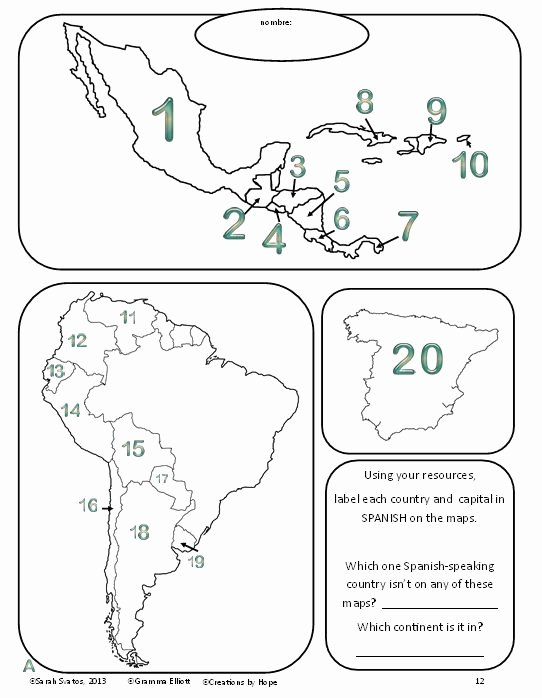 Spanish Speaking Countries Map Worksheet Fresh