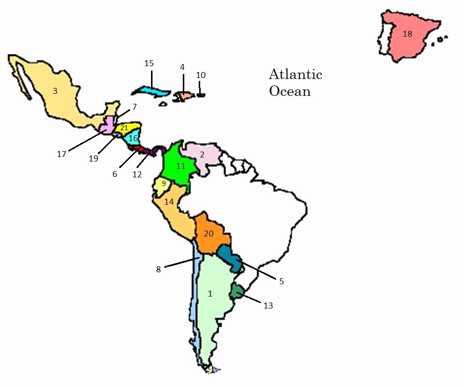 Spanish Speaking Countries Map Worksheet Luxury Map Of Spanish Speaking Countries Quiz by Hwhitesus