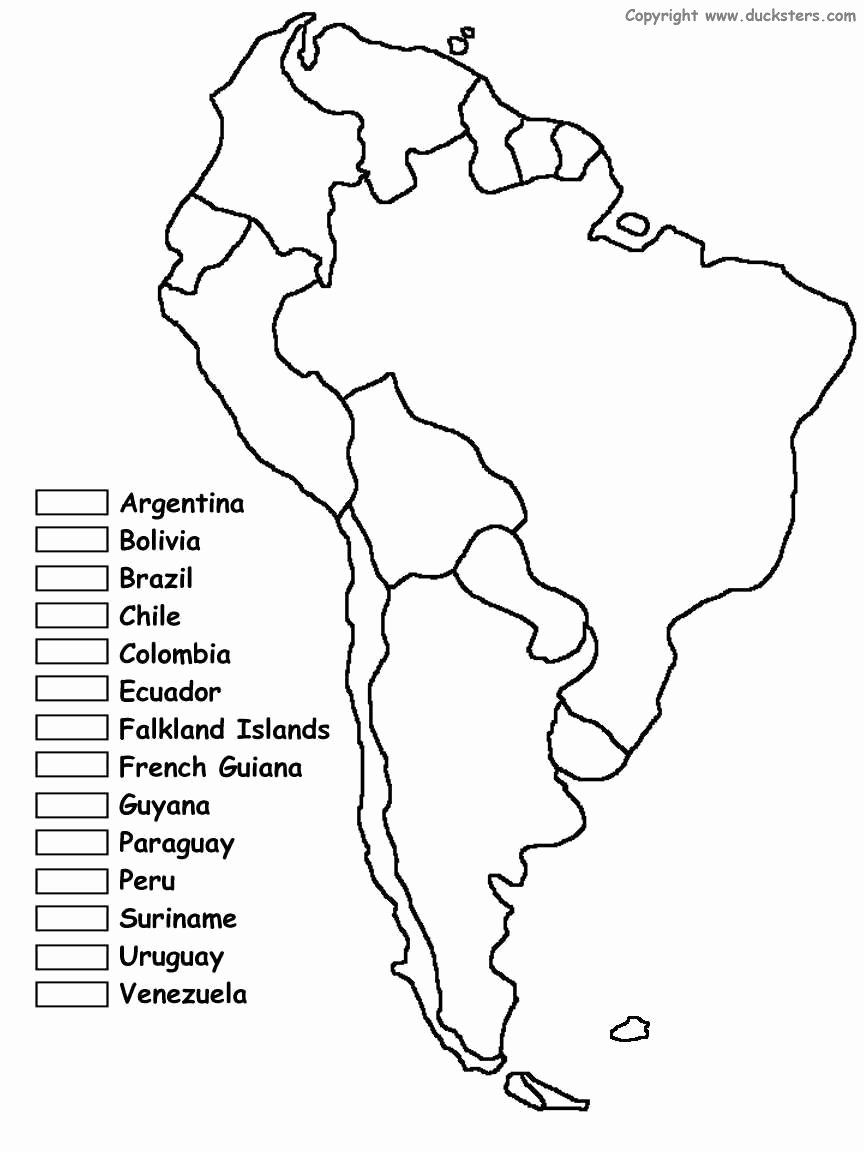Spanish Speaking Countries Map Worksheet Unique south America Coloring Map Of Countries