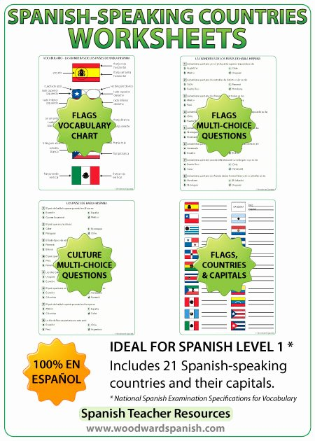 Spanish Speaking Countries Map Worksheet Unique Spanish Speaking Countries Worksheets