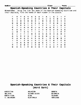 Spanish Speaking Countries Worksheet Fresh Spanish Speaking Countries and Capitals Word Search by
