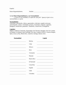 Spanish Speaking Countries Worksheet Inspirational Spanish Speaking Countries Capitals and Nationalities