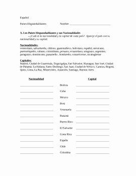 Spanish Speaking Countries Worksheet Inspirational Spanish Speaking Countries Capitals and Nationalities