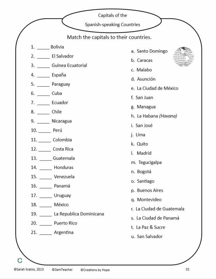 Spanish Speaking Countries Worksheet Inspirational the O Farrell Charter School