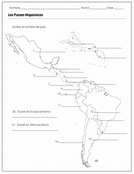 Spanish Speaking Countries Worksheet Lovely Spanish Speaking Countries and Capitals Worksheets by the