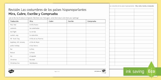 Spanish Speaking Countries Worksheet Luxury Customs In Spanish Speaking Countries Look Cover Write