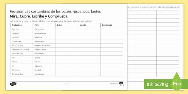 Spanish Speaking Countries Worksheet Luxury Customs In Spanish Speaking Countries Look Cover Write