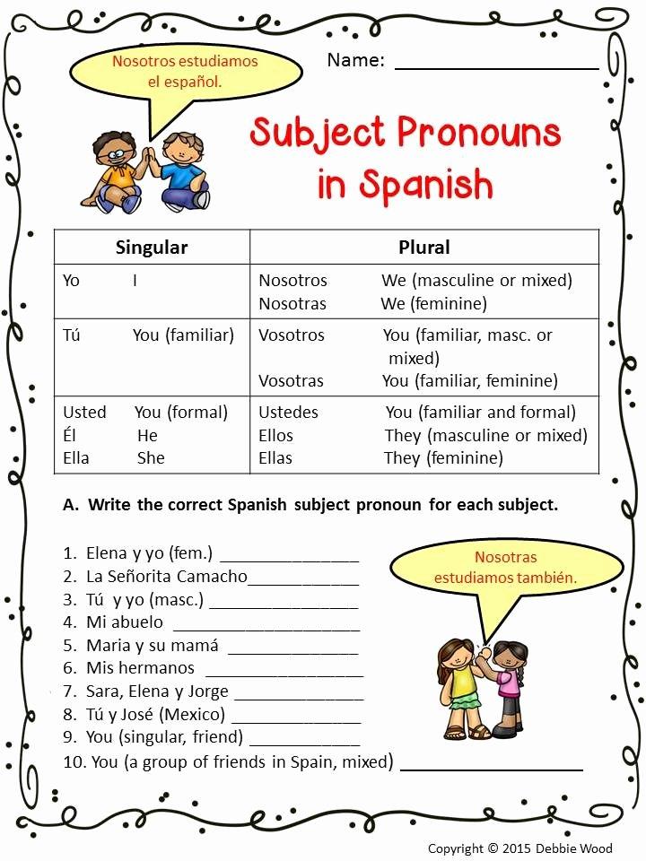 Spanish Subject Pronouns Worksheet Awesome Spanish Subject Pronouns