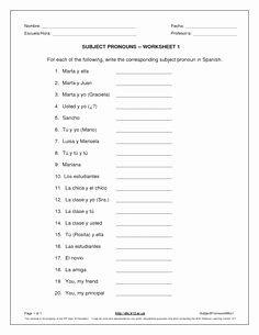 Spanish Subject Pronouns Worksheet Awesome Spanish Subject Pronouns Worksheets and Posters