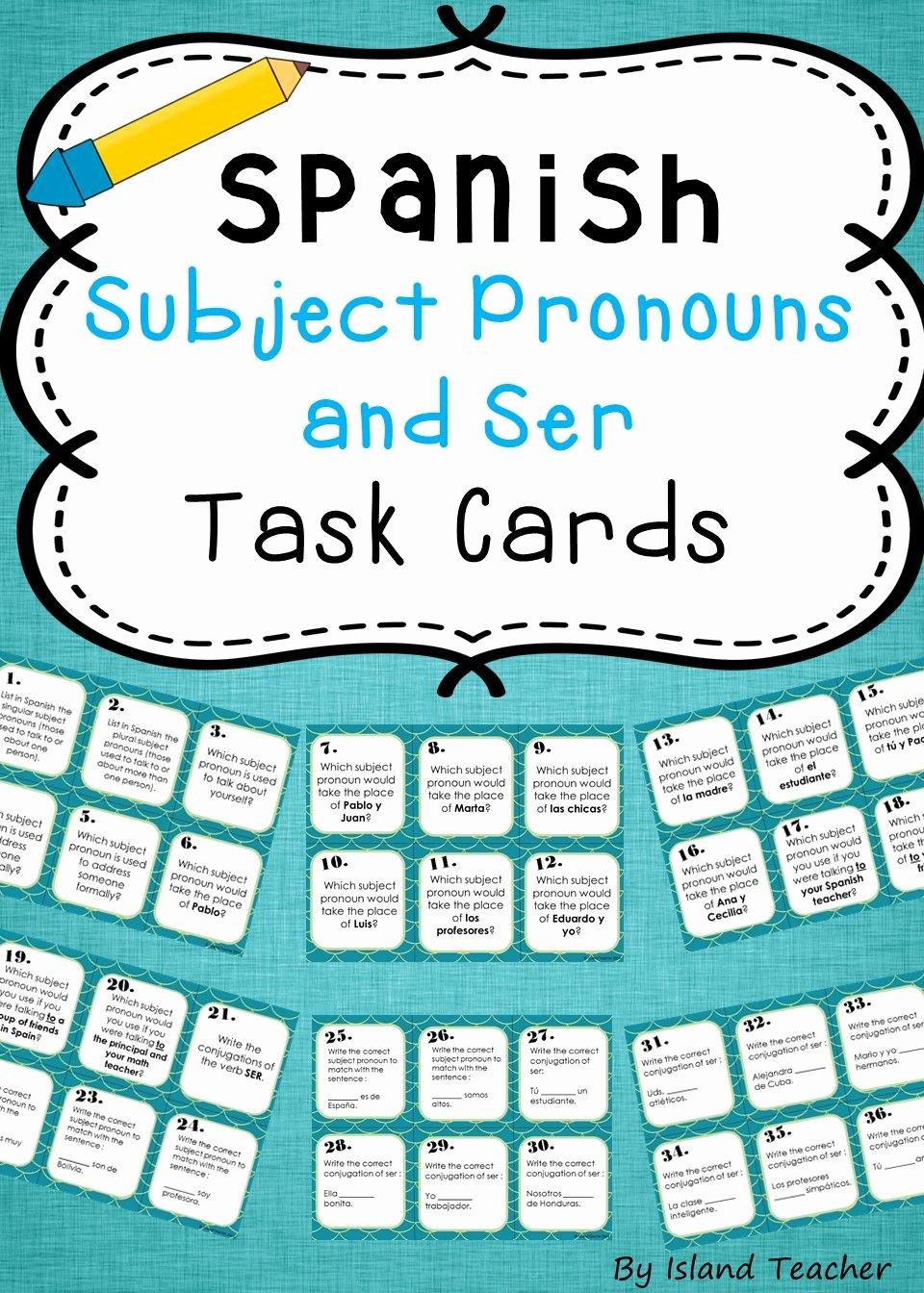 Spanish Subject Pronouns Worksheet Best Of Spanish Subject Pronouns and Ser Task Cards