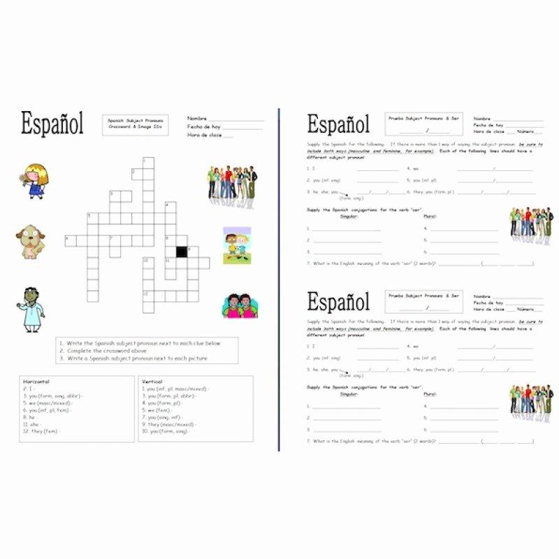 Spanish Subject Pronouns Worksheet Elegant 56 Spanish Subject Pronouns Worksheet Gallery for Spanish