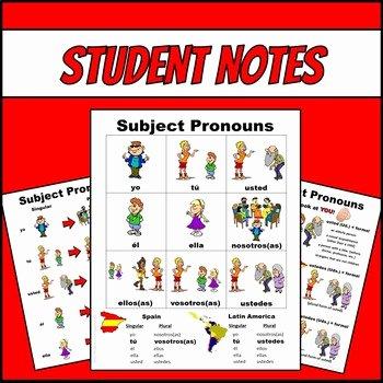 Spanish Subject Pronouns Worksheet Elegant Spanish Subject Pronouns Picture Notes and Practice