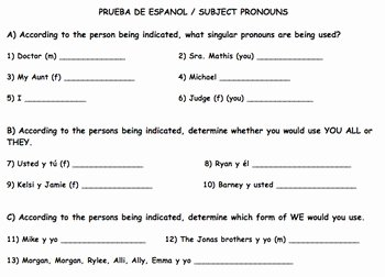 Spanish Subject Pronouns Worksheet Inspirational Spanish Subject Pronouns Guided Notes by Spanishplans
