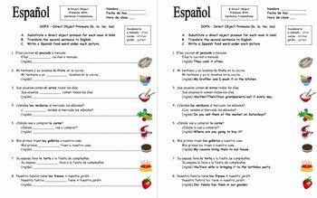Spanish Subject Pronouns Worksheet Luxury Spanish Direct Object Pronouns Sentences and Food