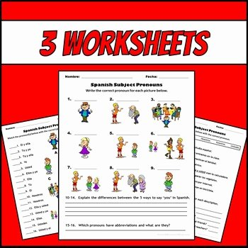 Spanish Subject Pronouns Worksheet New Spanish Subject Pronouns Picture Notes and Practice