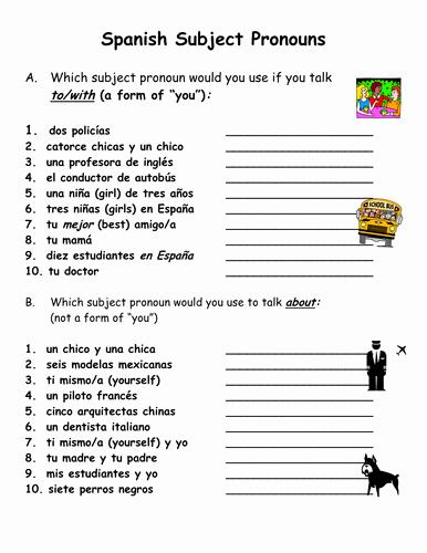 Spanish Subject Pronouns Worksheet Unique Spanish Subject Pronouns Practice and Worksheet by