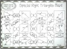 Special Right Triangles Practice Worksheet Awesome Geometric Mean Maze Worksheet Secondary Math