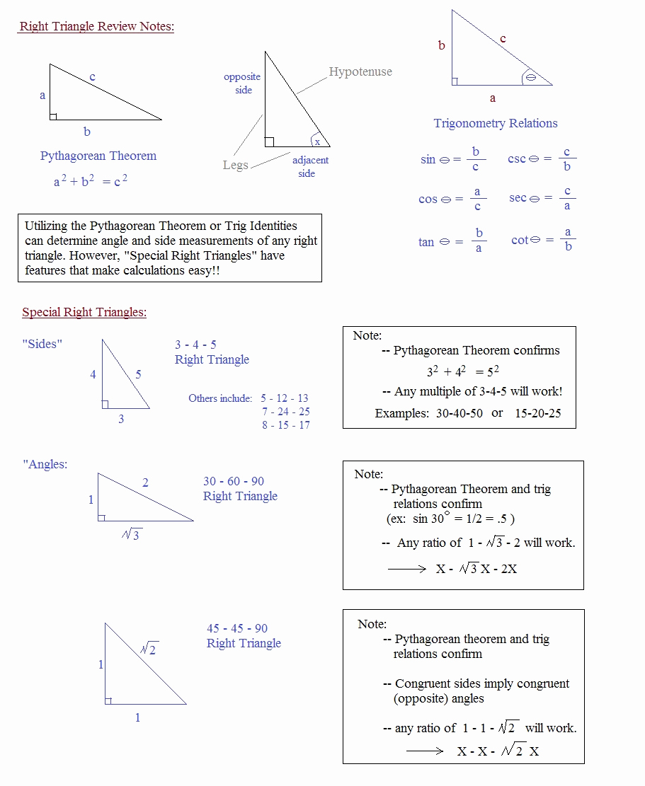Special Right Triangles Practice Worksheet Awesome Math Plane Right Triangle Review