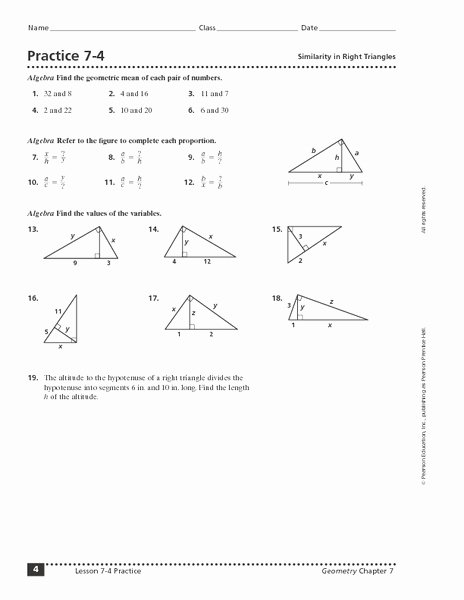 Special Right Triangles Practice Worksheet Awesome Practice 7 4 Similarity In Right Triangles Worksheet for