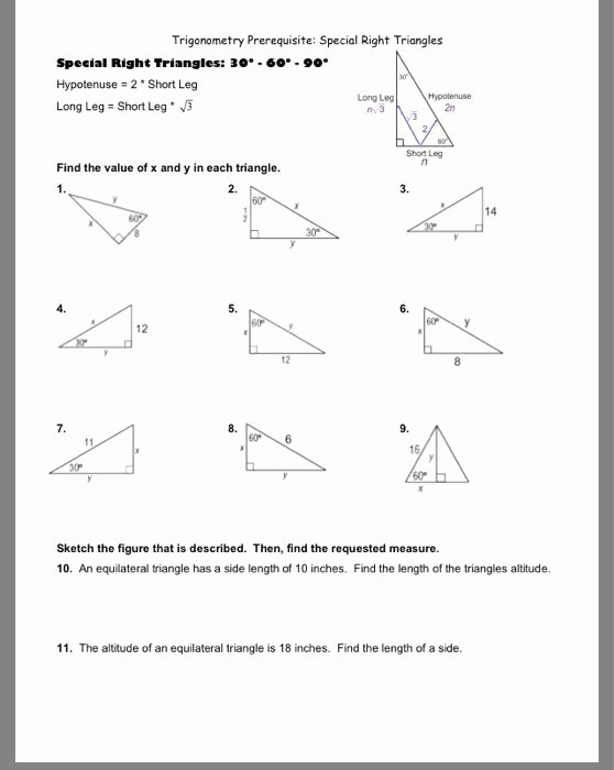 Special Right Triangles Practice Worksheet Beautiful solved Trigonometry Prerequisite Special Right Triangles