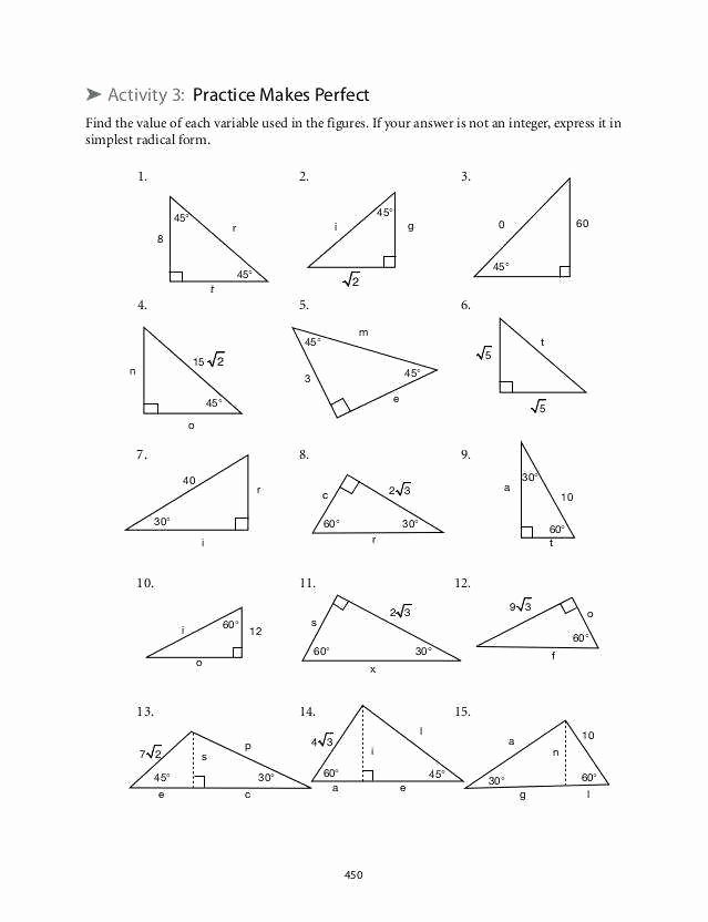 Special Right Triangles Practice Worksheet Beautiful Special Triangles Worksheet