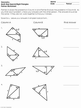 Special Right Triangles Practice Worksheet Best Of Multi Step Special Right Triangles Partner Worksheet by