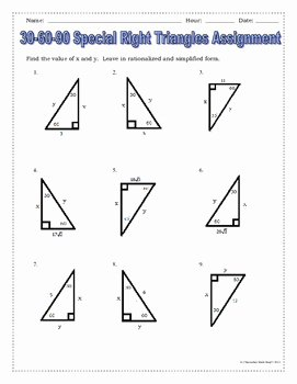 Special Right Triangles Practice Worksheet Best Of Right Triangles 30 60 90 Special Right Triangles Notes