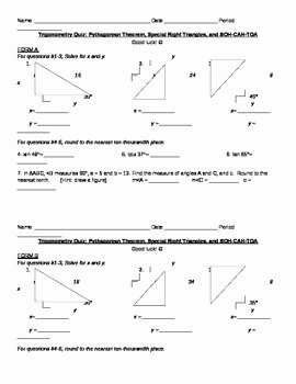 Special Right Triangles Practice Worksheet Best Of Trigonometry Quiz Special Right Triangles and soh Cah toa