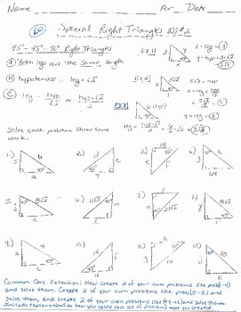 Special Right Triangles Practice Worksheet Elegant 45 45 90 Right Triangles Worksheet by Delora Washington S