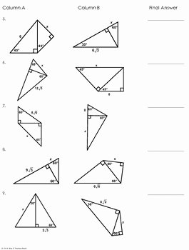 Special Right Triangles Practice Worksheet Elegant Multi Step Special Right Triangles Partner Worksheet by