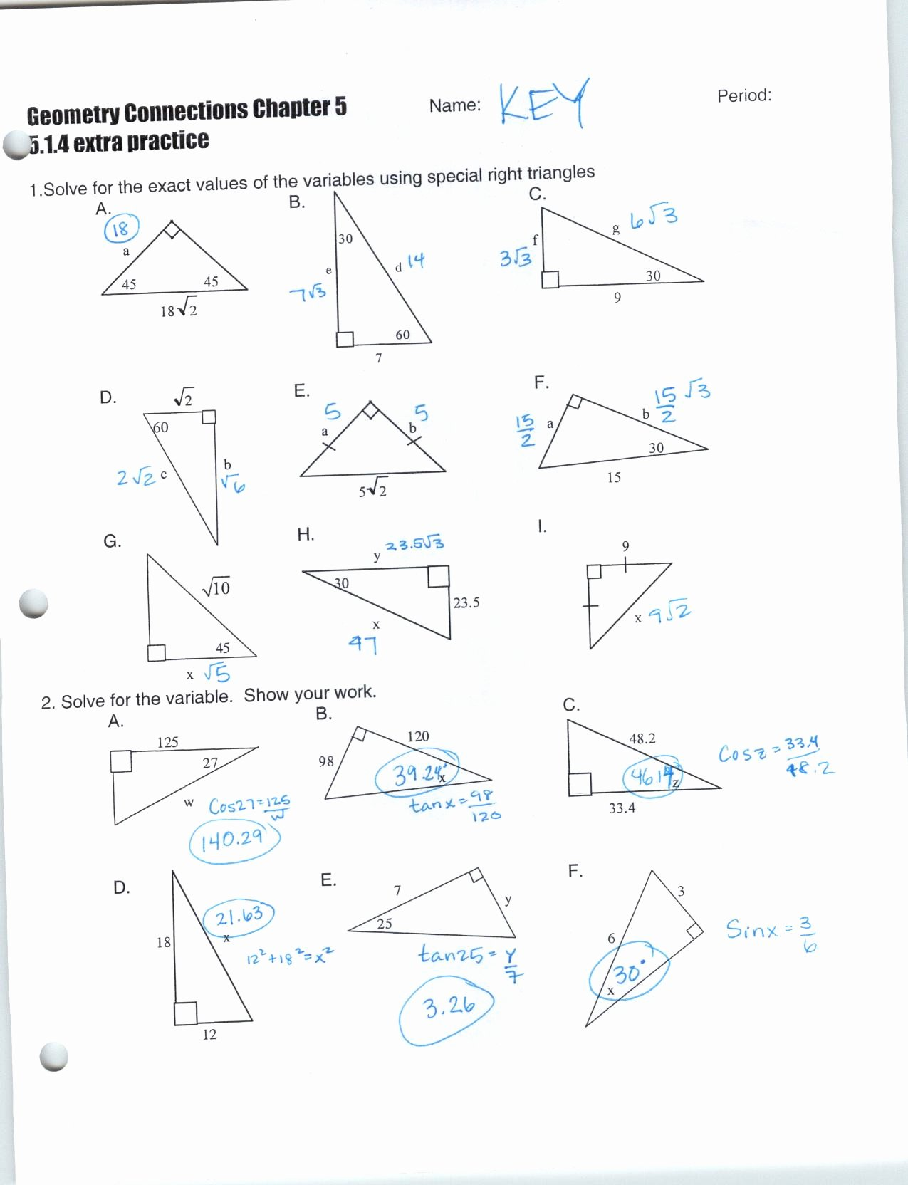 Special Right Triangles Practice Worksheet Elegant Special Right Triangles Worksheet Answer Key Match