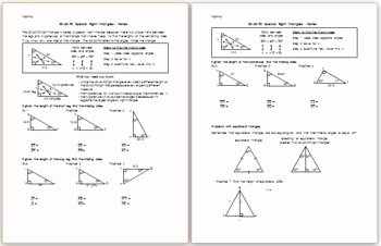 Special Right Triangles Practice Worksheet Fresh 30 60 90 Special Right Triangles Notes by Eric Douce