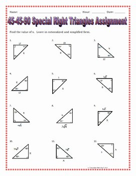 Special Right Triangles Practice Worksheet Fresh Right Triangles 45 45 90 Special Right Triangles Notes