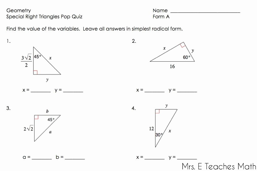 Special Right Triangles Practice Worksheet Lovely Right Triangles Unit Geometry