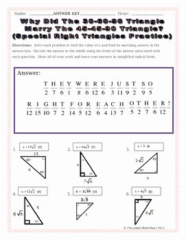 Special Right Triangles Practice Worksheet Luxury Right Triangles Geometry Special Right Triangles