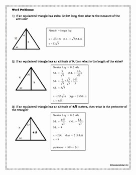 Special Right Triangles Practice Worksheet New Right Triangles 30 60 90 Special Right Triangles Notes