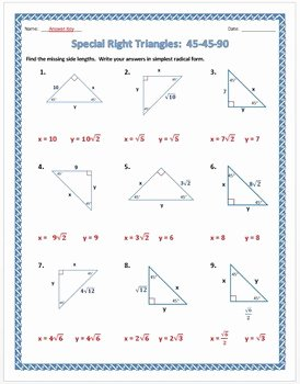 Special Right Triangles Worksheet Awesome Special Right Triangles 45 45 90 Practice Worksheet by Dr