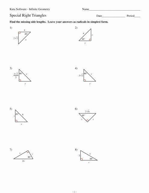 Special Right Triangles Worksheet Beautiful 8 Special Right Triangles Pdf Kuta software