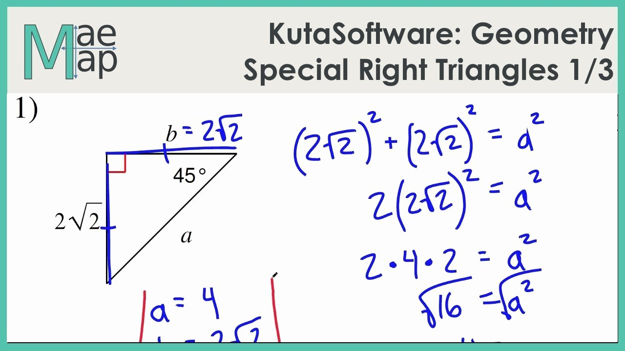 Special Right Triangles Worksheet Beautiful Kutasoftware Geometry Special Right Triangles Part 1