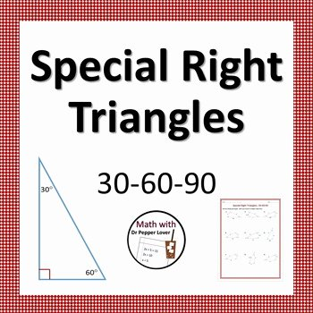 Special Right Triangles Worksheet Best Of Special Right Triangles 30 60 90 Practice Worksheet by Dr