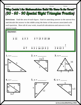 Special Right Triangles Worksheet Fresh Right Triangles Special 30 60 90 Riddle Practice