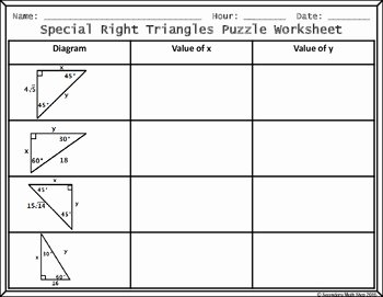 Special Right Triangles Worksheet Fresh Special Right Triangles 45 45 & 30 60 Cut Paste