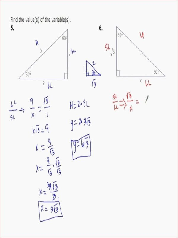 Special Right Triangles Worksheet Fresh Special Right Triangles Worksheet Answer Key with Work